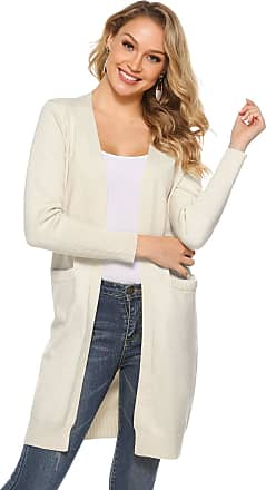 Abollria Women Winter Long Sleeve Open Front Chunky Cable Knitted Long Cardigan Sweater Coat with Pockets