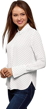 oodji Womens Relaxed-Fit Blouse in Flowing Fabric, White, UK 12 / EU 42 / L