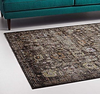 ModWay Modway Minu Distressed Floral Lattice 5x8 Area Rug in Black, Yellow and Orange