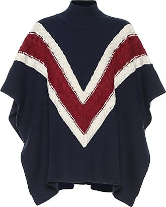 e1112a1bb See By Chloé Striped wool and cotton-blend poncho
