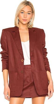 Tibi Linen Canvas Blazer in Red