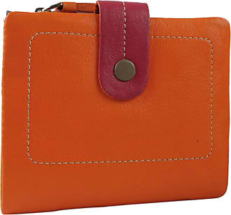 Visconti Ladies Leather Soft Small Tabbed Bi-Fold Purse/Wallet Mimi Gift Box (Orange Multi)