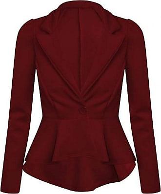 21Fashion Womens Long Sleeve Plain Flared Frill Peplum Blazer Ladies Fancy 1 Button Slim Fit Party Jacket Top Wine UK 20