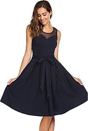 3232d2d4c7eee9 Parabler Damen Elegantes Sommerkleid Ärmellos Chiffon Kleid Skaterkleid  A-Linie Festliches Partykleid Abendkleid Knielang Kleider