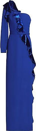 Mikael Aghal Mikael Aghal Woman One-shoulder Ruffled Velvet And Crepe Gown Royal Blue Size 10