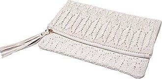 ále by Alessandra Womens La Pluma Vegan Leather Clutch, White, One Size