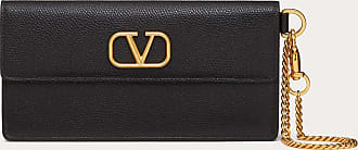 Valentino Garavani Valentino Garavani Vlogo Signature Grainy Calfskin Bill Pouch With Chain Handle Women Black Calfskin 100% OneSize