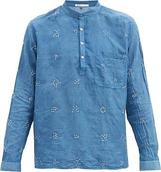 11.11 / eleven eleven 11.11 / Eleven Eleven - Bandhani Stand-collar Cotton-gauze Shirt - Mens - Light Blue