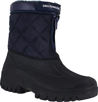 Groundwork LS83 Womens Muckers Mukker Stable Winter Waterproof Lined Snow Boots Navy UK8