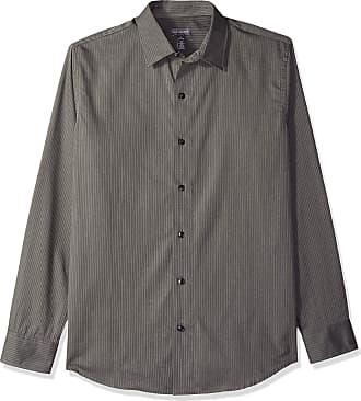 Van Heusen Mens Long Sleeve Stripe Sateen Shirt Button, Rich Grey Gargo, Medium