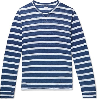 120% CASHMERE Slim-fit Striped Slub Linen T-shirt - Blue