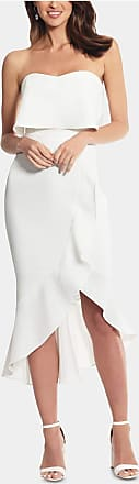 Xscape Womens White Sleeveless Strapless Above The Knee Ruffled Party Dress Size: 10