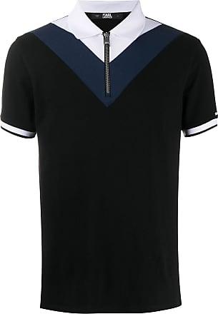 Karl Lagerfeld Camisa polo color block de algodão preta - Preto