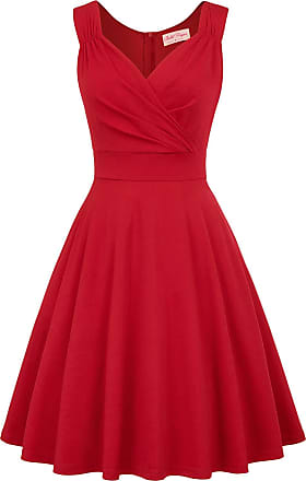 Belle Poque Vintage Womens Party Dinner Formal Dress A-line Knee Length Tea Party Dresses Red 945-4 Large