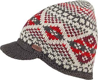 KuSan Brooklyn Fair Isle Peaked Beanie Hat - Red-Grey 1-Size