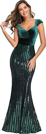Ever-pretty Womens V Neck Floor Length Elegant Mermaid Velvet and Sequin Evening Prom Dresses Dark Green 16UK