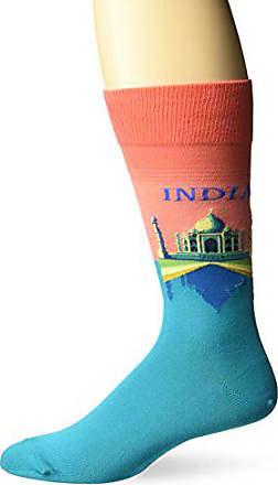 Hot Sox Mens Fashion Travel Crew Socks, India (Coral), Shoe Size: 6-12