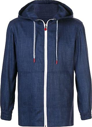 Kiton textured zipped hoodie - Blue