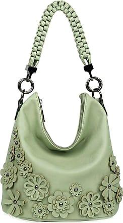 LeahWard Womens 3D Flower Handbags Soft Shoulder Bags Tote Handbag For Womens Holiday 1048 (Mint Green)