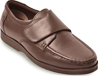 Chums Mens Wide Fit Touch Fasten Leather Shoe Brown 11 UK