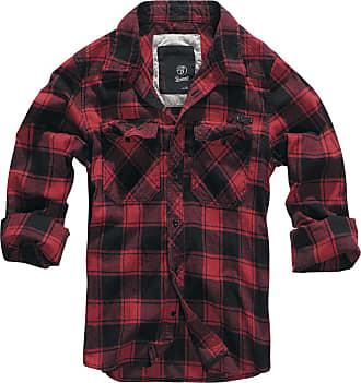 Brandit Checkshirt Men Flanel Shirt red-Black S, 100% Cotton, Labelpatch Regular