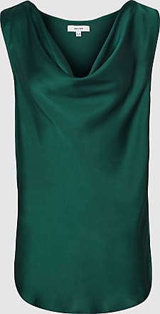 Reiss Elle - Satin Cowl Neck Top in Teal, Womens, Size 12