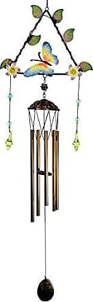 Great World Company StealStreet 301402 33 Triangular Shaped Metal Butterfly Wind Chime with Leaves