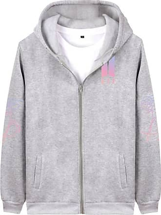 EmilyLe Womens Kpop BTS Zipper Hoodies Long Sleeve Pullover Jackets Jin Suga J-Hope Rap Monster Jimin V Jung Kook (M, Grey)