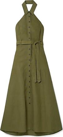Mara Hoffman Rosemary Tencel And Linen-blend Halterneck Maxi Dress - Army green