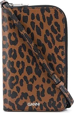 Ganni Carteira com estampa de leopardo marrom