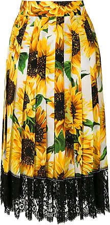 Dolce & Gabbana Saia midi de seda estampada - Amarelo