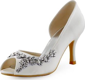 Elegantpark HP1542 Wedding Shoes for Bride Women Bridal Shoes High Heels Peep Toe Satin DOrsay Rhinestones Wedding Court Shoes Ivory UK 6
