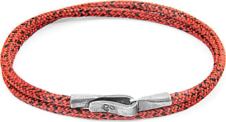 Anchor & Crew Red Noir Liverpool Silver and Rope Bracelet - 21cm (most popular)
