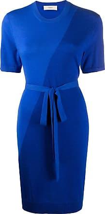Pringle Of Scotland Vestido bicolor com amarração na cintura de tricô - Azul