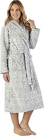 9d061064210ed Slenderella HC2351 Womens Luxury Fleece Grey Motif Robe Loungewear Bath Dressing  Gown Medium