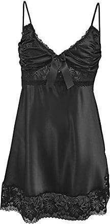 Feoya Damen Satin Morgenmantel Lang Bademantel Elegant V Ausschnitt Spitze Nachtkleid Sleepwear Nachtw/äsche mit G/ürtel Farbe W/ählbar