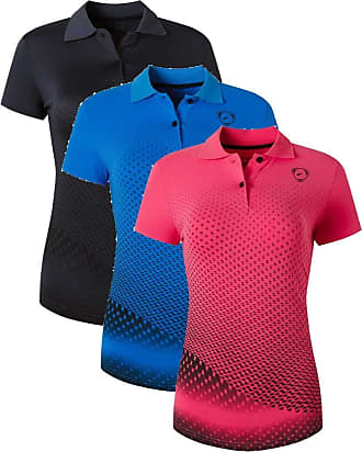 Jeansian Womens 3 Packs Sport Quick Dry Polo T-Shirt SWT251 PackE XL