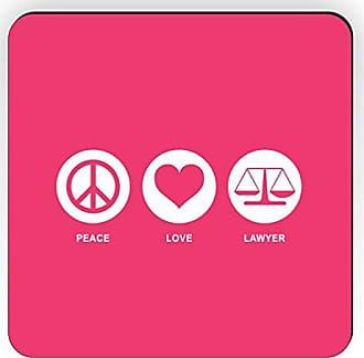 Rikki Knight Rikki Knight Peace Love Lawyer Design Square Fridge Magnet, Tropical Pink