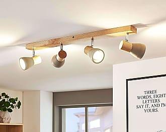 Lindby Lámpara LED techo Filiz madera y hormigón, 4 focos