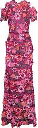 Marchesa Marchesa Notte Woman Cold-shoulder Floral-appliquéd Metallic Guipure Lace Gown Magenta Size 4