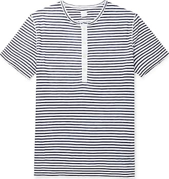 120% CASHMERE Slim-fit Garment-dyed Striped Slub Linen Henley T-shirt - Blue
