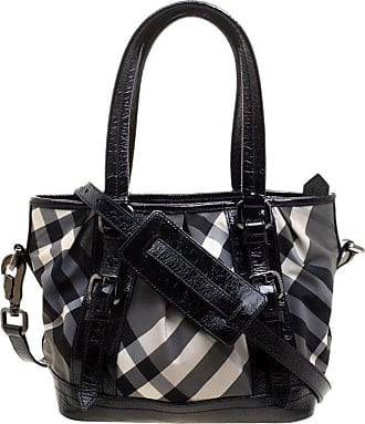 01de011d87d3 Burberry Black Beat Check Nylon And Patent Leather Small Lowry Tote
