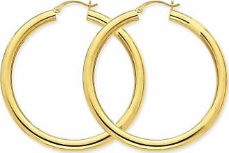 Quality Gold 14kt Yellow Gold Polished 4mm Lightweight Round Hoop Earrings