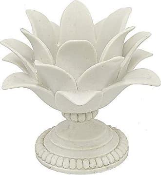 Three Hands 7.5 Decorative White Resin Lotus Flower Votive Holder in White