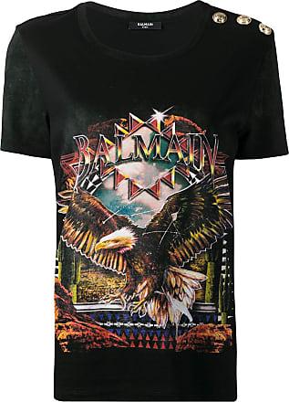 Balmain Camiseta ampla com estampa gráfica - Preto
