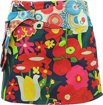 Loud Elephant Reversible Popper Wrap Mini Skirt - Abstract Floral/Swirls & Spheres