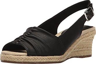 2de178fe1 Easy Street Womens Kindly Espadrille Wedge Sandal Black Textured 9 W US