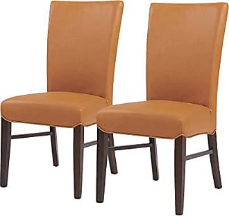 New Pacific Direct 268239B-V07 Milton Bonded Leather, Set of 2 Dining Chairs, Vintage Caramel
