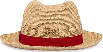 Prada Chapéu de ráfia com lenço - Vermelho