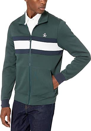 Original Penguin Mens Long Sleeve Track Jacket Sweatshirt, Darkest Spruce, Medium